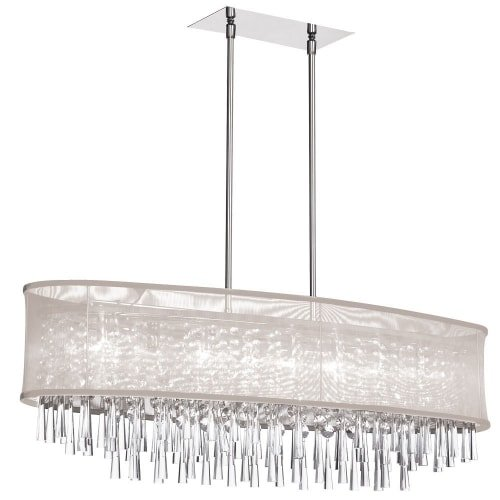 (Dainolite Lighting JOS368-PC-117 8-Light Crystal Oval Chandelier with Oyster Shade)