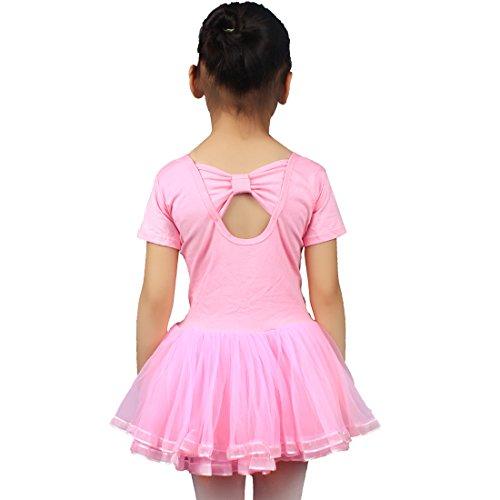 01 Andux Ballet Etwdf Pour Filles' Jupé Courte Justaucorps Danse Rose Manche La HHxOwnqvSF