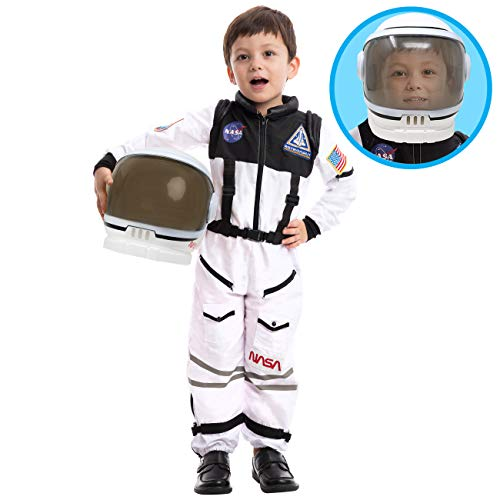 Astronaut NASA Pilot Costume with Movable Visor Helmet for Kids, Boys, Girls, Toddlers Space Pretend Role Play Dress Up, School Classroom Stage Performance, Halloween Party Favor (Medium (8-10yr))