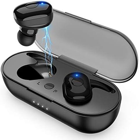 Amuoc Wireless Earbuds, Bluetooth 5.0 Wireless Headphones, in-Ear Sweat-Proof Stereo Wireless Earphones with Portable Charging Case, Mic Black