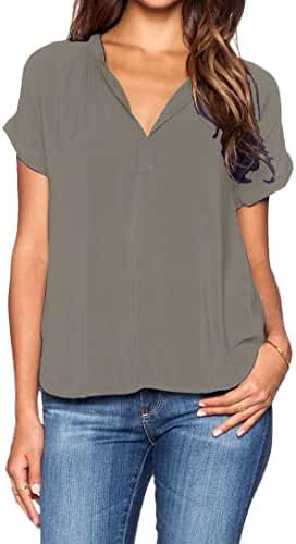 LILBETTER Women Chiffon Blouse V Neck Short Sleeve Top Shirts
