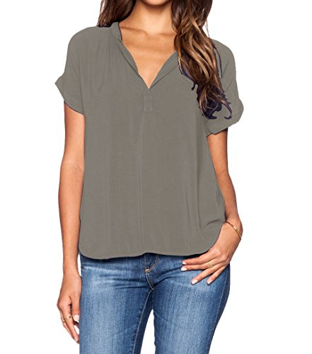 LILBETTER Women Solid V Neck Loose Fitting Chiffon Blouse Top(Geay L)