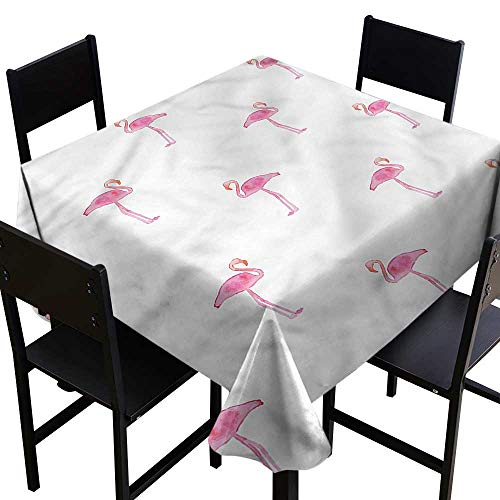 Exotic Bird Care (Anshesix Easy Care Tablecloth Flamingo Exotic Birds in Watercolor Soft and Smooth Surface W36 xL36 for Kitchen Dinning Tabletop Decoration)