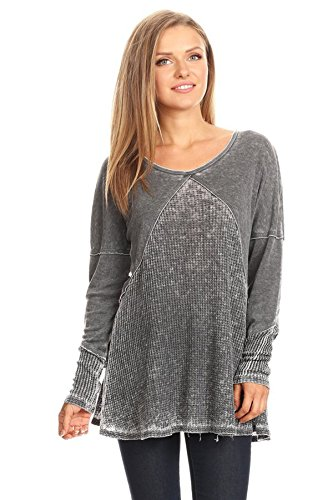 Burnout Thermal Shirt - T Party Women Long Sleeve Thermal Burnout Top