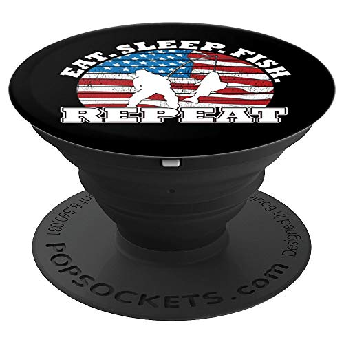 American Flag Eat Sleep Fish Repeat Fisherman Silhouette PopSockets Grip and Stand for Phones and Tablets