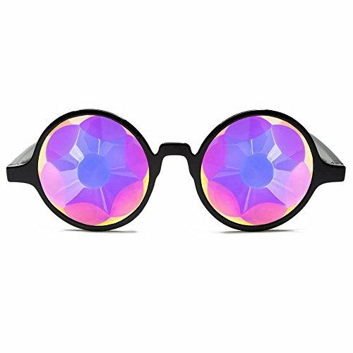 GloFX Black Sacred Kaleidoscope Glasses - Rainbow Sacred Geometry Rave Prism Diffraction Festival by GloFX