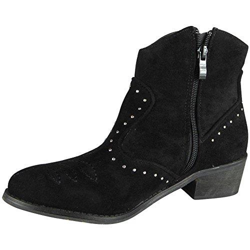 Loud Look Womens Ladies Ankle Cowboy Zip Stud Heel Mid Work Faux Suede Boots Shoes Size 3-8 Black rbGad7O
