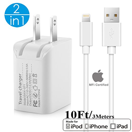 2in1 [ Apple MFi Certified ] 10Ft Lightning Cable/Cord + 5V/2.4A Dual Port USB Wall Plug Charger Block/Charging Cube/Brick/Box Power Adapter For iPhone XS Max XR X 8 Plus 7 6s 6 5s 5 iPad Air Pro Mini (Best Charger For Ipad Air)