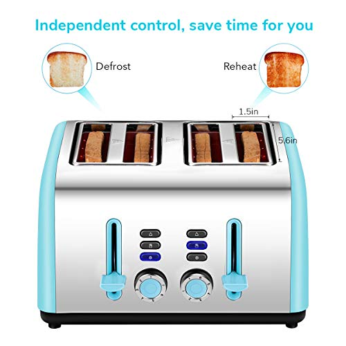 Toaster 4 Slice Wide Slot, Kitchen Toaster Stainless Steel Compact, Sleek Bread Toaster Best Rated with Quick Defrost Reheat Cancel Button by KEEMO by Keemo (Image #1)