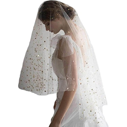 Sunzeus 2 Layers Cut Edge Wedding Veil for Bridal Gold Star Sequins Bridal Veils with Comb Wedding Accessories-Ivory