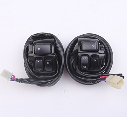 (New 2pcs Handlebar Control Switches+Wiring Harness For Harley Softail, Dyna, Sportster, V-rod 1996-2012)