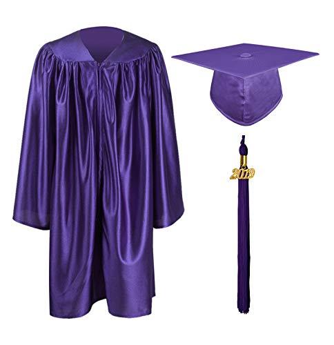 Purple Kids Charm - GraduationMall Shiny Kindergarten & Preschool Graduation Gown Cap Set with 2019 Tassel Purple 36(4'3
