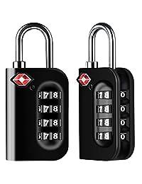 Diyife TSA Luggage Locks, [Newest Version][2 Packs] 4-Digit Security Padlock, Travel Lock, Combination Padlocks, Code Lock for Travel Suitcases Luggage Bag Case etc. Black