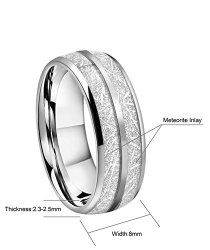 Crownal 8mm Imitated Meteorite Tungsten Wedding Ring Band Engagement Ring Domed Polished Engraved''I Love You'' Size 5 To 17 (8mm,17) by CROWNAL (Image #3)