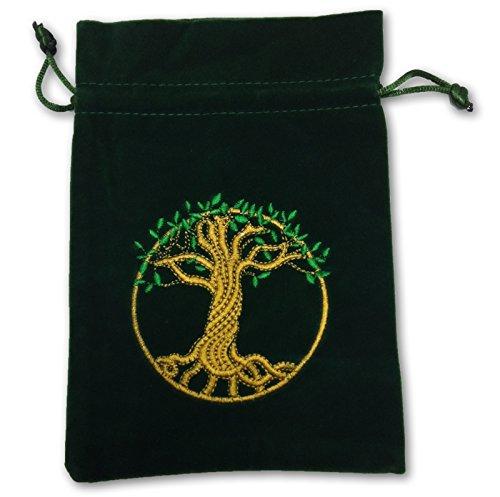 FindSomethingDifferent Tree of Life Tarot Bag Embroidered Velvet 180 x 130mm