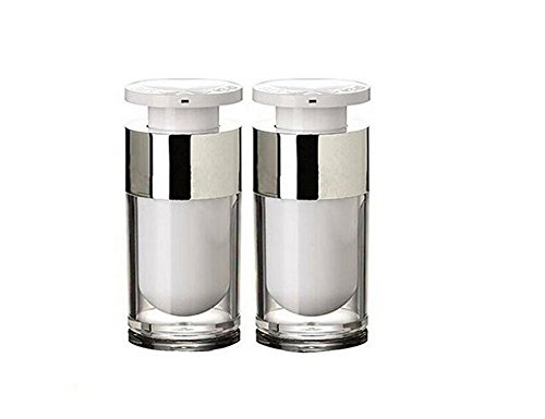 2PCS Empty Refillable Upscale White Acrylic Airless Vacuum Cream Lotion Pump Bottle Container Travel Cosmetic Make up Toner Jar Pot (15ml/ ()