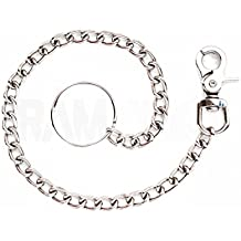"""RAM-PRO 18"""" Secure Travel Wallet Chain with 2"""" Key Split Ring & Trigger Snap Hook Clasp – Professional Grade Heavy Duty Jeans Link Coil Leash for Men/Women – Great for Truckers and Bikers"""