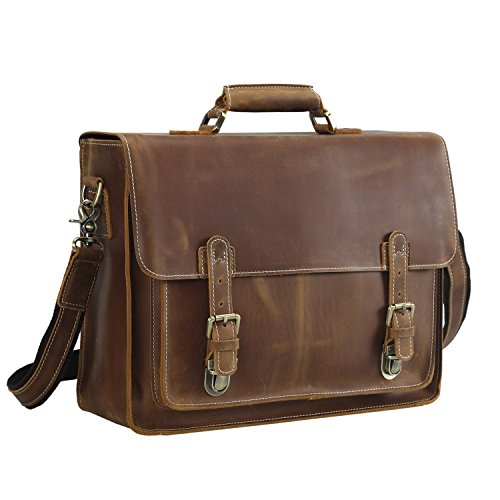 Leather Vintage Messenger Bag, Fit 16 Inch Laptop Briefcase (Light Brown) (Leather Front Flap)