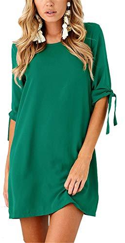 Colore Lunghe da Dimensione Manica a in con Krere Chiffon Verde Camicia Maniche 1 Maniche 12 Lunghe Donna a Mezza 4B16t