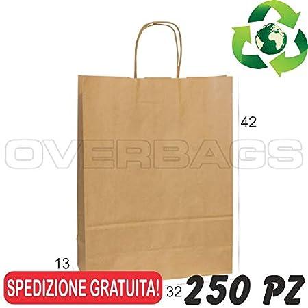 Borse Shopper di Carta Manico Cordino Sacchetti Carta Riciclata Avana OverBags cm 15x8x20 pz 500