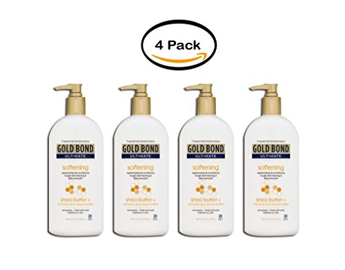 PACK OF 4 - Gold Bond Ultimate Softening Skin Therapy Lotion with shea butter, coconut oil, & cocoa butter, 14 oz (Softening Therapy Skin Lotion)