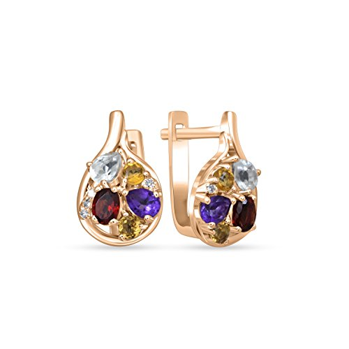 Earrings, Christmas Gift, Rare, Jewel Ivy 14K Gold Multi color Stone Earring with Diamond (I2-I3) by JEWEL IVY
