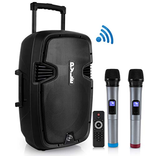 (Karaoke Portable PA Speaker System - 1600W Active Powered Bluetooth Compatible Speaker, Rechargeable Battery, Easy Carry Wheels, USB MP3 RCA, FM Radio, 2 UHF Microphone, Remote - Pyle)