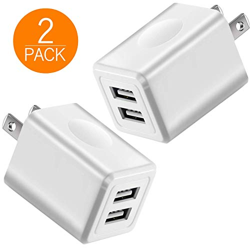 USB 2.1A Charger, 2-Pack 10W USB Power Adapters Fast Dual Port Travel Mobile Phone AC Adapter Portable Block Plug Compatible with Phone XS MAX/XR/X/8/7/Plus/6S/6/SE/5S/5C/Tablet - Block Charging Duel