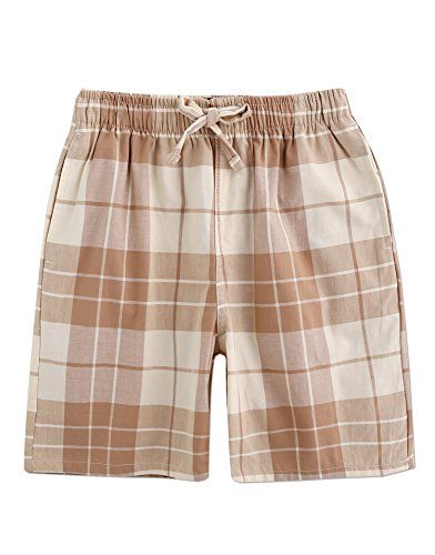 TINFL Men's Plaid Cotton Sleep Lounge Shorts Pajama Pants MSP-16-Beige M
