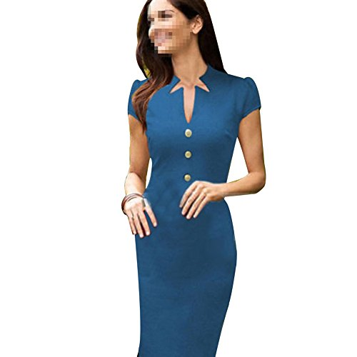 Janecrafts New Fashion Fit and Flare Womens Party Office Dresses (XL Blue)