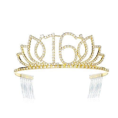DcZeRong Princess Sweet Girls 16 Birthday Tiara Crown Gold Rhinestone Crystal Diamond Crown Tiara (Sixteen Sweet Tiaras)