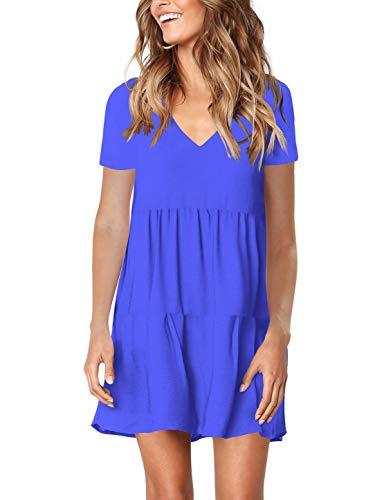 (Amoretu Women Casual V Neck Short Sleeve Swing Tunic Dress for Summer Blue XXL)