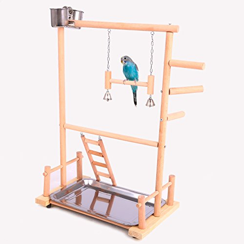 QBLEEV Parrot Play Stand Bird Gym Playground Wooden Perches with Ladders Hanging Bell Feeding Watering Cups Birdcage Toys for Cockatiel Conures Parakeets Canaries Pigeons Finches (14.17