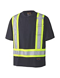 Pioneer Soft Moisture-Wicking Reflective Hi-Vis Safety T-Shirt, Premium Birdseye, Black, L, V1051170-L