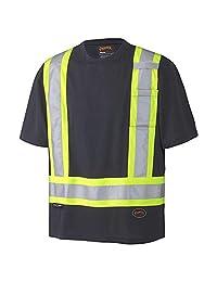 Pioneer Soft Moisture-Wicking Reflective Hi-Vis Safety T-Shirt, Premium Birdseye, Black, XL, V1051170-XL
