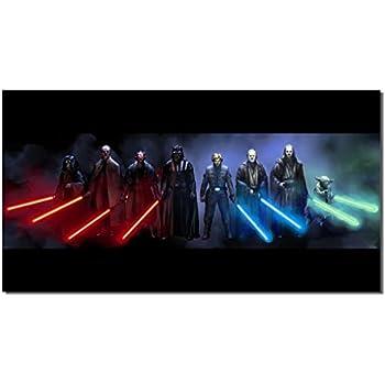 Picture Sensations® Framed Canvas Art Print, Star Wars Darth Vader Luke Skywalker Yoda Darth Maul Lightsaber Canvas Art - 36