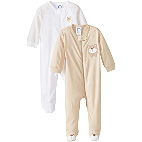 Gerber Unisex Baby 2 Pack Zip Front Sleep N Play, Bear Brown, 0-3 Months