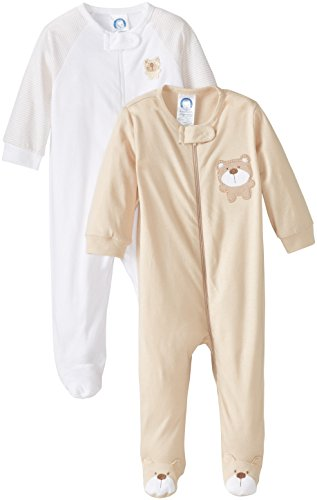 Gerber Unisex Baby 2 Pack Zip Front Sleep 'N Play, Bear Brown, 0-3 Months