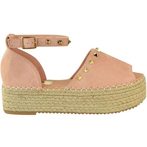 Zapatos Ante Tachuelas Talla Rosa Plataforma Plana Plataformas Artificial Heelberry Con Pastel Sandalias Verano Mujer Adornado aOqZwSzg