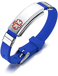 Free Custom Engraving Assorted Color Stainless Steel& Silicone Medical Alert Sport ID Wristband Bracelets,Adjustable