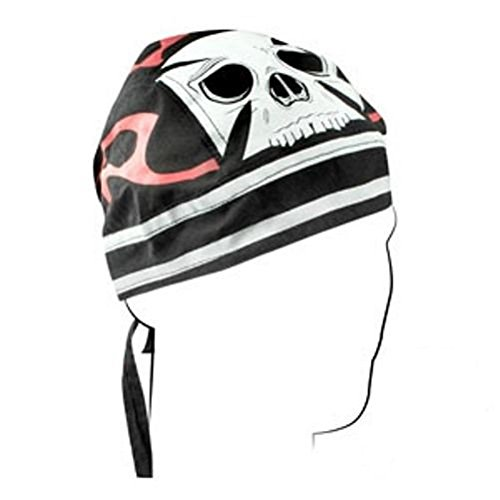 Maltese Iron Cross Pinstripe Red Flames White Skull Doo Rag Headwrap Biker Cap