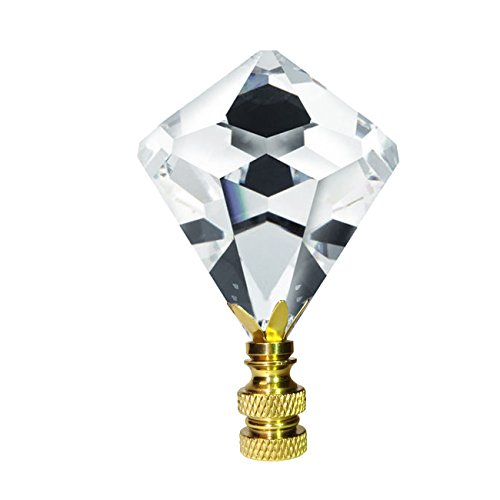 Crystal Finial Swarovski Strass Clear 30mm Faceted Cone Shape Prism Dazzling Lamp Shade - Brass Crystal Swarovski Strass