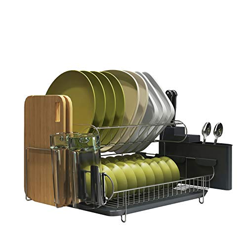 MAJALiS Large Capacity Dish Rack, 304 Stainless Steel 2 Tier Dish Drying Rack with Utensil Holder, Cutting Board Holder and Dish Drainer for Sink Side (Two Tier Dish)