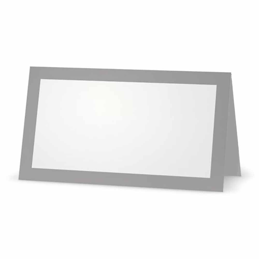Gray Place Cards - Flat or Tent - 10 or 50 Pack - White Blank Front with Solid Color Border - Placement Table Name Seating Stationery Party Supplies Occasion or Dinner Event (50, Tent Style)