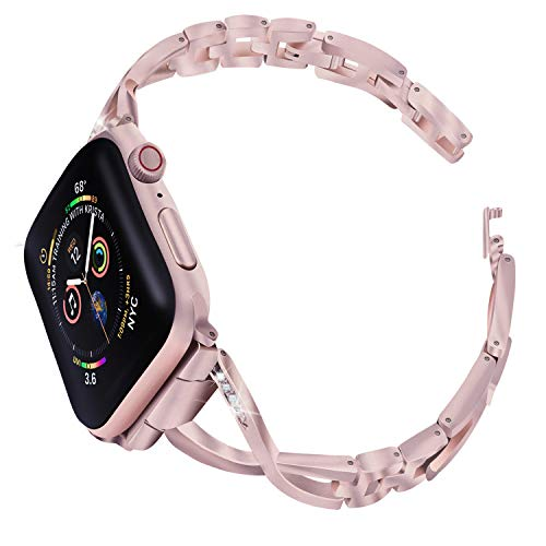 MixMart Compatible Apple Watch Band 38mm 40mm, Metal Bands for iWatch Apple Watch Series 4 Series 3 Series 2 Series 1, Replacement Strap Bracelet Wristband for Women (Rose Gold)