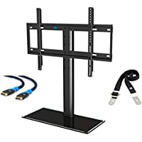 Mounting Dream MD5109 Table Top TV Stand/ TV mount with Anti-Tip Strap and 3 Sets Height Adjustment, for Most 42-60 Inches LED, LCD and Plasma TVs up to 99 LBS, VESA up to 600x400mm, Tempered Glass