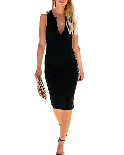 AELSON Women's Sleeveless V Neck Ruched Bodycon Midi Tank Dress Black