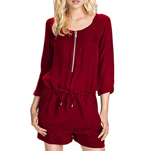 Sumtory Women Casual Loose Romper and Jumper 3/4 Sleeve Overalls Shorts Wine Red M