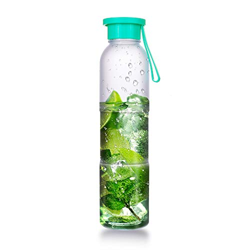 ArtLife Sports 16 oz Water Bottle Dishwasher Safe Tritan Fruits Water Bottle for Kids Girls Smoothies Hydrate Reusable Portable Water Bottle with Strap (Tritan-16oz-Mint)