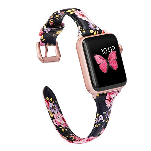 Wearlizer Slim Leather Compatible with Apple Watch Band 38mm 40mm Womens iWatch Straps Wristband Flower Printed Replacement Beauty Sports Bracelet (Metal Stainless Steel Clasp) Series 4 3 2 1-Flower3